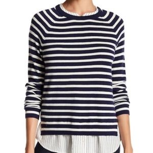 Joie Navy & White Striped Twofer Sweater Small